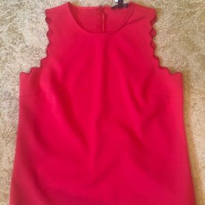 Never worn Red sleeveless jcrew top with eyelets